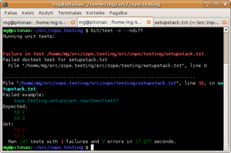 Zope 3 test     runner in a black terminal