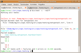 Zope 3 test     runner in a white terminal