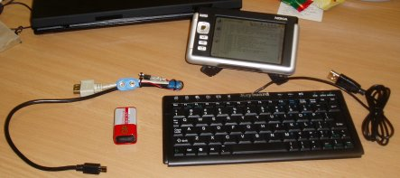 Nokia 770, tiny USB keyboard, USB power injector
