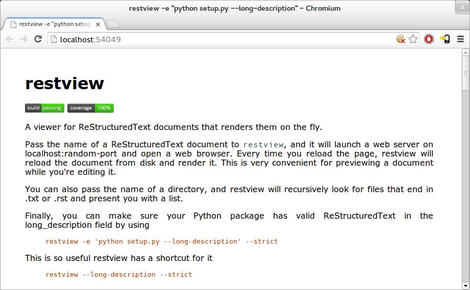 restview - A ReStructuredText viewer