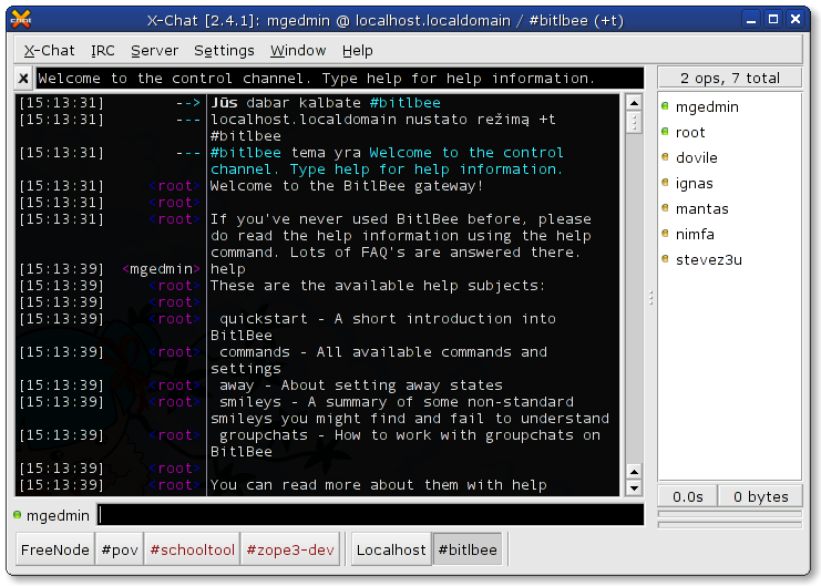 Screenshot of X-Chat connected to the Bitlbee gateway